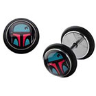 Disney Star Wars Boba Fett Stainless Steel Screw Back Earrings
