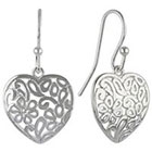 Bali Silver Plate Dangle Earrings Heart With Design - Silver