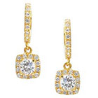 Journee Collection 1 CT. T.W. Round Cut CZ Basket Set Dangle Earrings in Brass - Gold