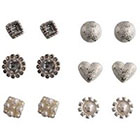 Target Stud Earrings with Pearl and Crystal Accents Set of 6 - Silver