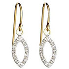 Diamond Drop Sterling Silver Earrings with Accents Yellow
