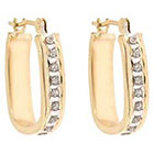 Diamond Sterling Silver Hoop Earrings with Accents - Yellow