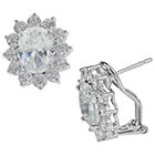 Tevolio Cubic Zirconia Oval Framed Stud Earring - Blue and Silver