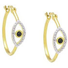 Diamond 0.02 CT.T.W. Round-Cut Accent Prong Set Evil Eye Earrings 18K Gold Plated