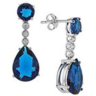 Tevolio Cubic Zirconia Round and Pear Drop Earrings - Blue/Silver