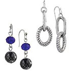 Target Rhodium Set of 2 Pairs Artisan Beads and Oval Link Dangle Drop Earrings - Silver/Blue