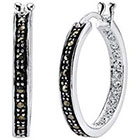 Target Silver Plated Marcasite and Crystal Hoop Earring - 23.6mm