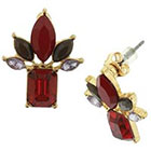 Target Button Earring with Square and Marquis Stones - Red