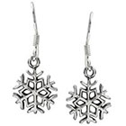 Journee Collection Snowflake Dangle Earrings in Sterling Silver