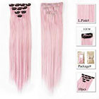 Amazon Neitsi 10pcs 18inch Colored Highlight Synthetic Clip on in Hair Extensions #F01 Light Pink