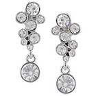 Target Drop Earring with Bubble Stone - Silver/Clear