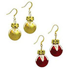 Target Ornament Ball Fish Hook Earrings Set- Red/Gold