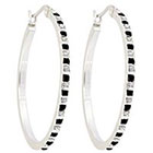 Diamond Hoop Sterling Silver Earrings with Accents