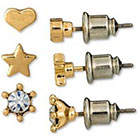 Target Rhinestone Star Heart Stud Trio Earring Set - Gold/Crystal