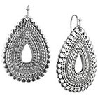 Target Rhodium Artisan Open Teardrop Dangle Drop Earrings - Silver