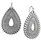 Target Rhodium Artisan Open Teardrop Dangle Drop Earrings - Silver