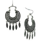 Target Filigree Crescent Earrings with Marquis Drops - Silver