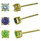 Target Gold Plated Cubic Zirconia Round Stud Earrings Set - Gold (4mm)