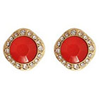 Target Fashion Earrings with Stones-- Gold and Coral