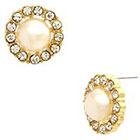 Target Button Pearl Earring with Pave and Center Stone - Gold