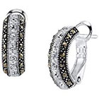 Target Silver Plated Marcasite and Crystal Stripe Hoop Earring - 19.1mm