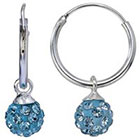Target Sterling Silver Crystal Ball Hoop Earring - Blue