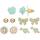 LC Lauren Conrad Flower & Bow Stud Earring Set