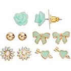 LC Lauren Conrad Flower & Bow Stud Earring Set