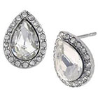 Target Teardrop Halo Post Earrings - Silver