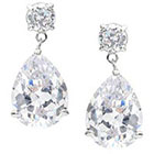 Journee Collection 18 3/8 CT. T.W. Pear Cut CZ Basket Set Dangle Earrings in Brass - Clear