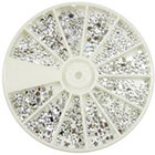 Amazon EVERMARKET Nail Art MoYou Silver Moon Rhinestone Pack of 1200 Crystal Premium Quality Gemstones in 12 different shapes and sizes, beauty accessory for women nails, fun and easy to apply with top coat or nail glue