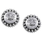 Journee Collection Sterling Silver Smiling Sun Stud Earrings - Silver