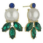 Target Social Gallery by RomanTM Simulated Pearl and Emerald Marquise Drop Post Round Earrings