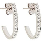 Diamond J Post Hoop Sterling Silver Earrings with Accents - White