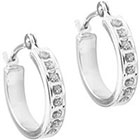 Diamond 14K White Gold Accent Hoop Earrings