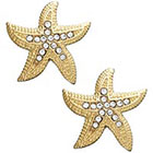 ABS by Allen Schwartz Earrings, Gold-Tone Starfish Pave Crystal Button Earrings