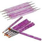 Amazon 7Pcs UV Gel Acrylic Nail Art Painting Detailing Brushes + 5 X 2 Way Marbleizing Dotting Pen Set