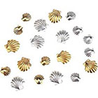 Amazon Fantastic Sparkly High Quality Professional Nail Art 3D Decorations / Accessories Set Kit With 20pcs Gold And Silver Colored 3mm And 5mm Sea Shells Forms / Designs Studs By VAGA