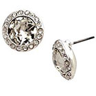 Target Button Earrings with Pave and Center Stone - Silver