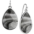 Target Rhodium Faceted Teardrop Stone Drop Dangle Earrings - Silver/Black