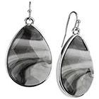 Target Rhodium Faceted Teardrop Stone Drop Dangle Earrings - Silver/Black