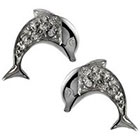 Tressa Collection Cubic Zirconia Dolphin Earrings in Sterling Silver