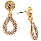 Target Pave Button with Crystal Teardrop Back Earring - Gold/Silver
