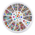 Broadfashion 2mm 3mm Metallic Studs Rivet Flat Back Facet Rhinestones Wheels 3D Nail Art Decorations in