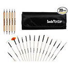 Bundle Monster Pro 20pc Nail Art Design Painting Detailing Brushes & Dotting Pen / Dotter Tool Kit Set in