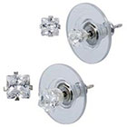 Target Sterling Silver Square Stud Earrings Set - Clear