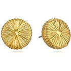 T Tahari Gold-Tone Textured Button Earrings in Gold