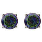 Target 2 2/5 CT. T.W. Tressa Collection Sterling Silver Round Cut CZ Prong Set Stud Earrings - Mystic Topaz