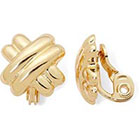 Monet Jewelry Monet Gold-Tone Criss-Cross Button Clip-On Earrings in Gold Tone