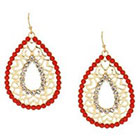 Target Drop Earrings with Stones - Gold and Coral